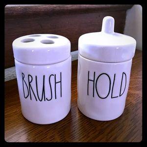 Rae Dunn BRUSH and HOLD Bathroom Set